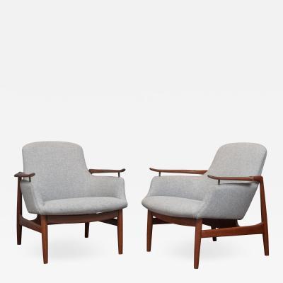 Finn Juhl Finn Juhl NV 53 Lounge Chairs for Niels Vodder