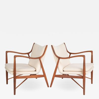 Finn Juhl Finn Juhl Pair Of Iconic 45 Lounge Chairs 1950s