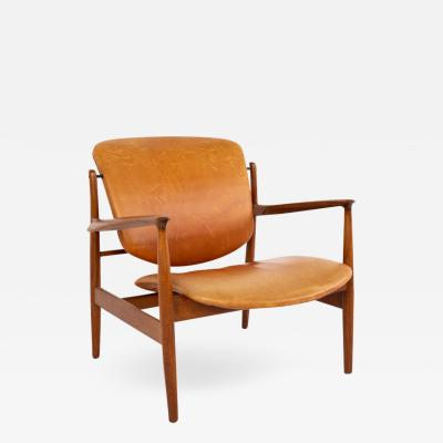 Finn Juhl Finn Juhl for France and Son FJ136 Mid Century Teak and Leather Lounge Chair