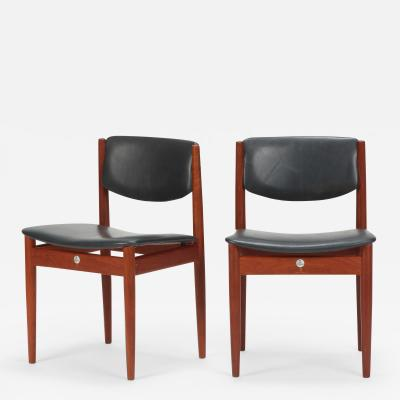 Finn Juhl Pair Finn Juhl Model 197 Chairs Leather Teak 60 s
