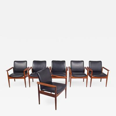Finn Juhl Set of Six Diplomat Armchairs by Finn Juhl for France Son