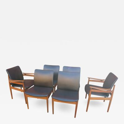 Finn Juhl Set of Six Teak and Leather Dining Chairs Models 191 192 by Finn Juhl