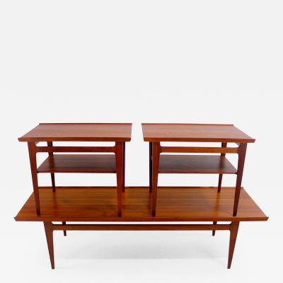 Finn Juhl Solid Teak Danish Modern Coffee End Table Set Designed by Finn Juhl