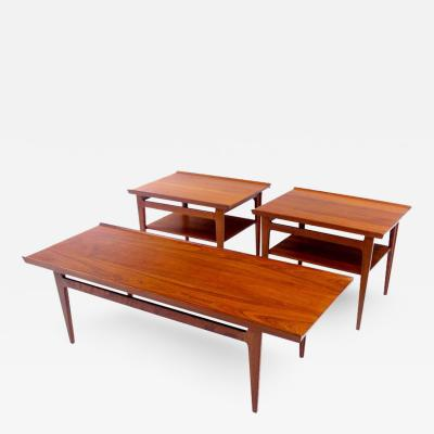 Finn Juhl Solid Teak Danish Modern Three Piece Table Set Designed by Finn Juhl