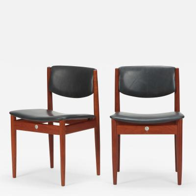 Finn Juhl Two Finn Juhl Model 197 Chairs Leather and Teak 60s