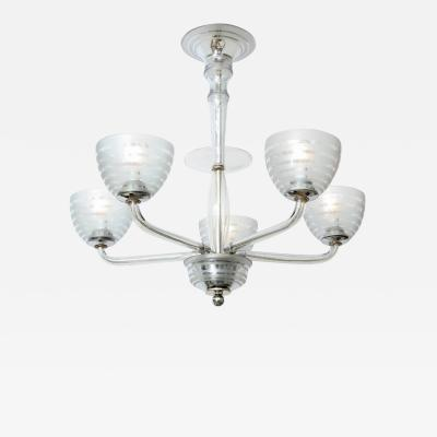 Five Arm Glass Chandelier