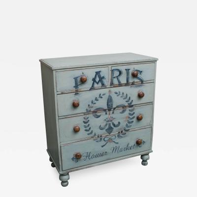 Five Drawer English Chest with Later Paint Decoration Paris Flower Market