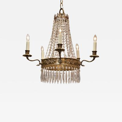 Five Light Brass Empire Style Chandelier Circa 1930 France
