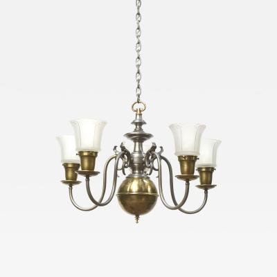 Five Light Pewter and Brass Colonial Revival Chandelier