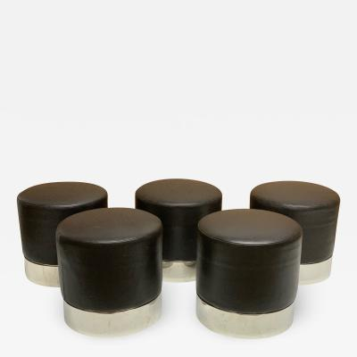 Five Modern Leather and Chrome Stools