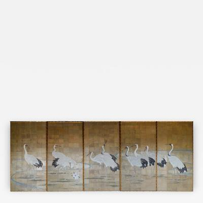 Five Panel Japanese Crane Screen