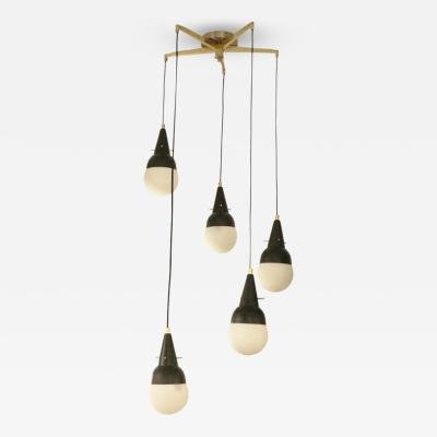 Five Pendant Fixture in the Manner of Stilnovo Italy 1950s