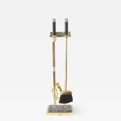 Five Piece Brass Black Marble Fireplace Tool Set