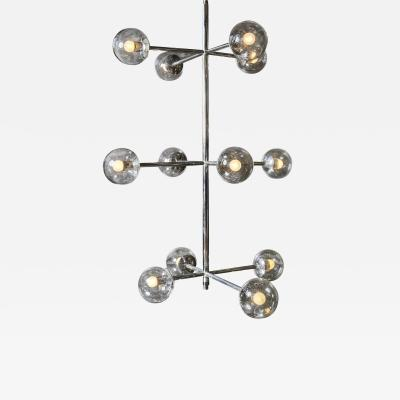 Five Stackable Nickeled Chandelier by Kinkeldey