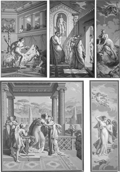 Five Wall Decoration En Grisaille by Dufour Paris France 19th Century