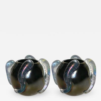 Flavio Costantini Costantini Italian Pair of Sculpture Iridescent Black Murano Glass Round Vases