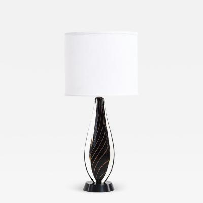 Flavio Poli Black Sommerso Murano Lamp by Flavio Poli for Seguso 1950