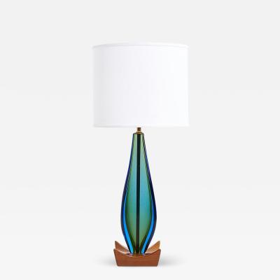 Flavio Poli Blue Sommerso Murano Lamp by Flavio Poli for Seguso Italy
