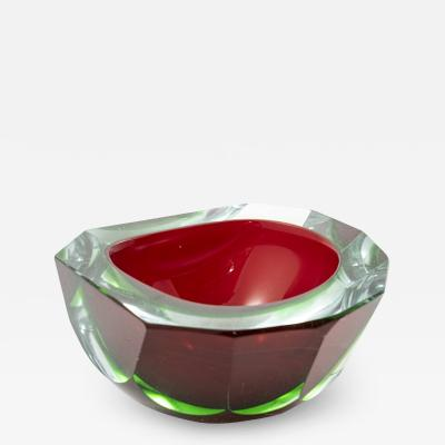 Flavio Poli MURANO RED AND GREEN SOMMERSO GLASS ASHTRAY OR BOWL