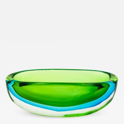 Flavio Poli Seguso Green and Blue Bowl by Flavio Poli