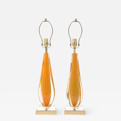 Flavio Poli Seguso Melon Color Murano Glass Lamps
