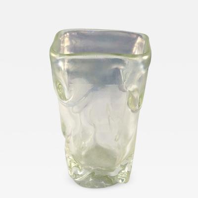 Flavio Poli Square vase north iris design by Flavio Poli for Seguso Vetri DArte