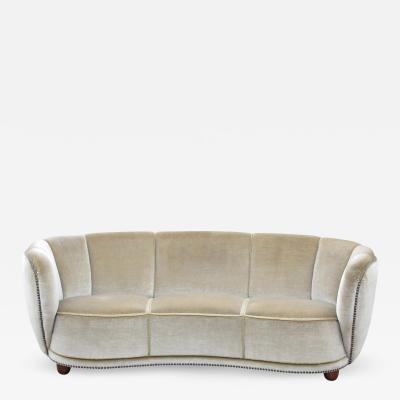 Fleming Lassen 1930s Scandinavian Deco Mohair Sofa attr Flemming Lassen