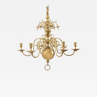 Flemish Brass Six Arm Chandelier