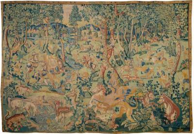 Flemish School Amazing Tapestry Fantastic beasts hunt wool and silk