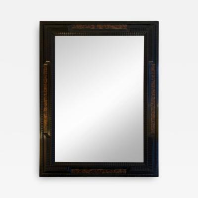 Flemish Style Faux Tortoishell and Ebonised Ripple Frame Mirror
