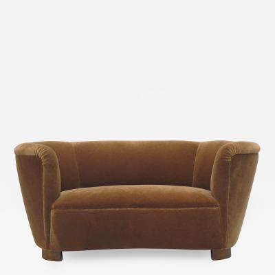 Flemming Lassen Early 1930s Danish Deco Mohair Sofa Settee