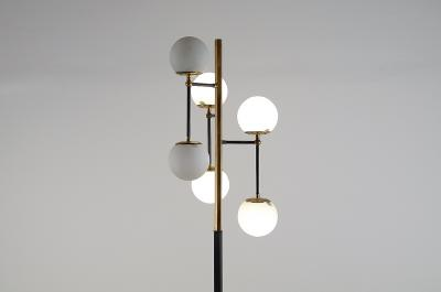 Floor lamp in brass and metal with six opaline glass lights Italy 1950s