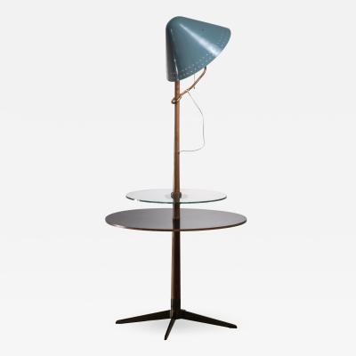 Floor lamp with wood and glass plateau Germany