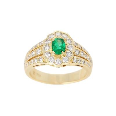 Floral Cluster Emerald and Diamond Ring 18 Karat Yellow Gold