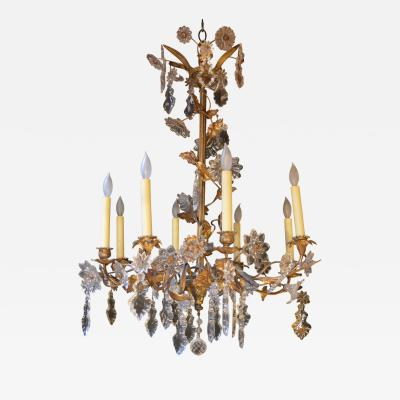 Floral Detail Brass and Crystal Chandlier