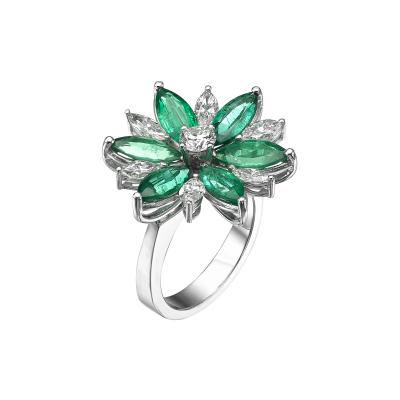 Floral Diamond and Emerald Ring Marquise Cut