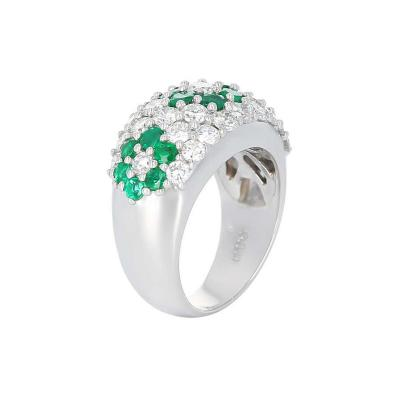 Floral Emerald and Diamond Ring Platinum