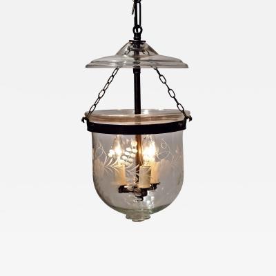 Floral Etched Bell Jar Lantern Circa 1850 England