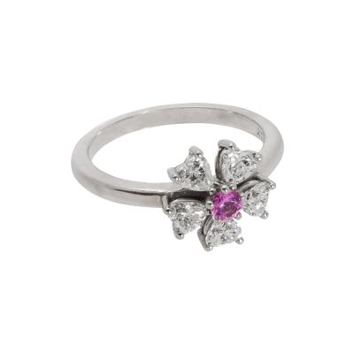 Floral Motif Diamond Ring with Ideal Cut Heart Shaped Diamonds