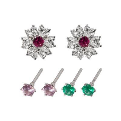 Floral Motif Interchangeable Diamond Earrings Set with Heart Shape Diamonds