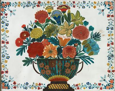Floral Still Life with Floral Border