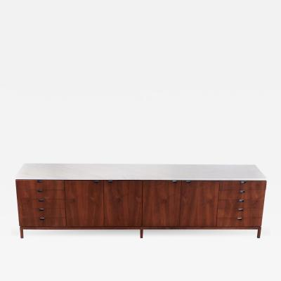 Florence Knoll 1960s Florence Knoll Book Matched Walnut Buffet with Calacatta Gold Marble Top