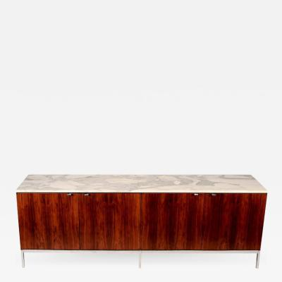 Florence Knoll 1960s Florence Knoll Calacatta Marble Top Rosewood Credenza