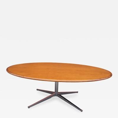Florence Knoll Custom Oval Walnut and Chrome 2480 Table Desk by Florence Knoll