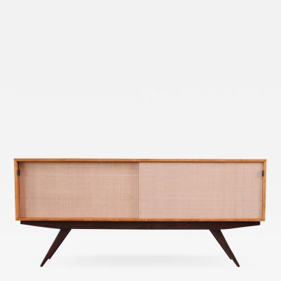 Florence Knoll Early Florence Knoll Credenza Cabinet in Mahogany Birch and Grasscloth