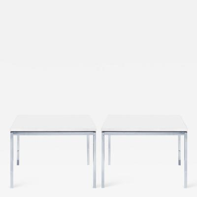 Florence Knoll Florence Knoll Coffee Side Tables in White Marble Pair