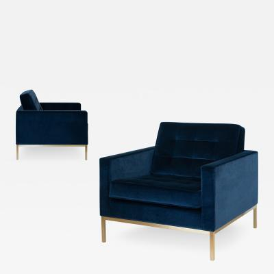 Florence Knoll Florence Knoll Lounge Chairs in Navy Velvet Brushed Brass Pair