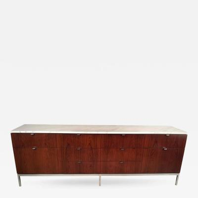 Florence Knoll Florence Knoll Rosewood Credenza with Carrara Marble Top