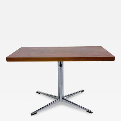Florence Knoll Florence Knoll Style Walnut Side Table Desk Modern Chrome Adjustable Star Base
