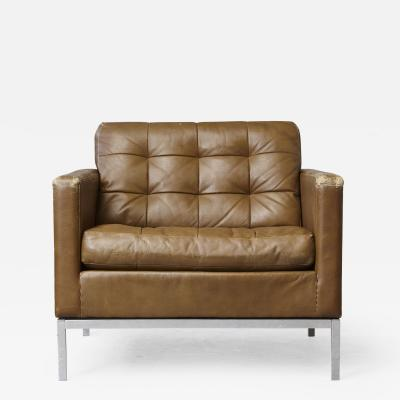 Florence Knoll Florence Knoll Tan Leather Button Tufted Lounge Chair 1970s